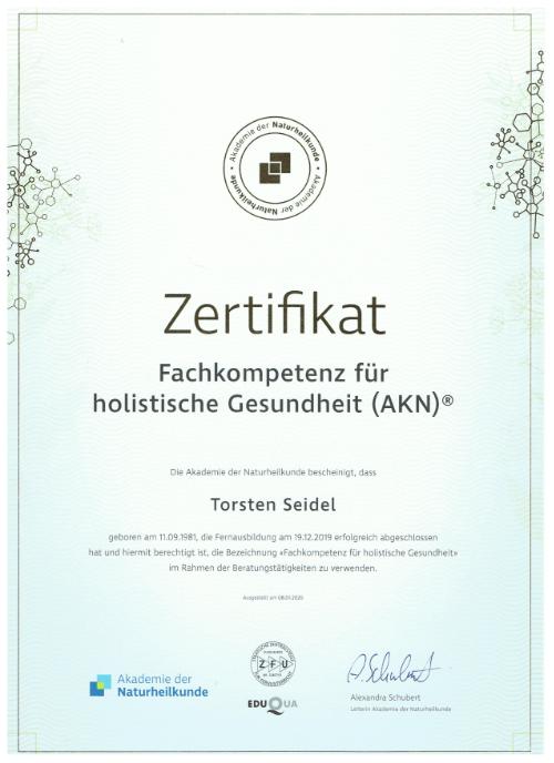Zertifikat holistische Gesundheit Torsten Seidel